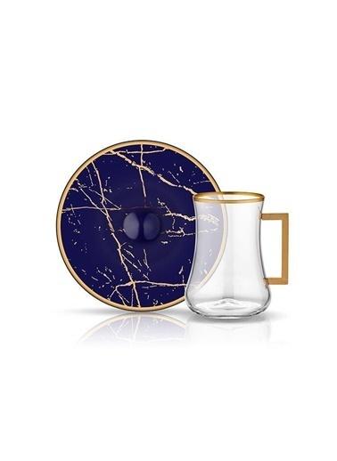 Dervish Kulplu Çay St 6'lı Mermer Kobalt-Koleksiyon
